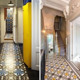 carreaux de sol dans les idées de décoration de couloir