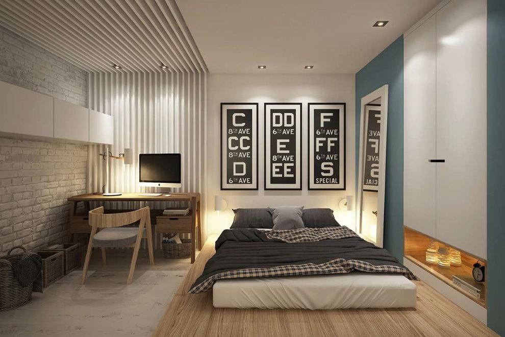 Zonage au sol d'un espace chambre avec un lieu de travail