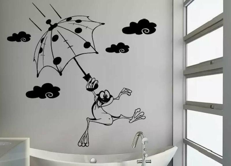 Mur de salle de bain blanc avec motif noir