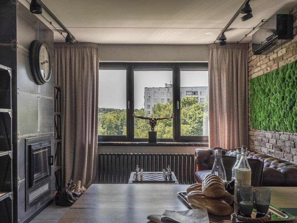 Rideaux de fenêtre décor chambre de style loft