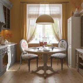 table sur une jambe pour la photo de conception de cuisine