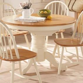 table sur une jambe pour la cuisine