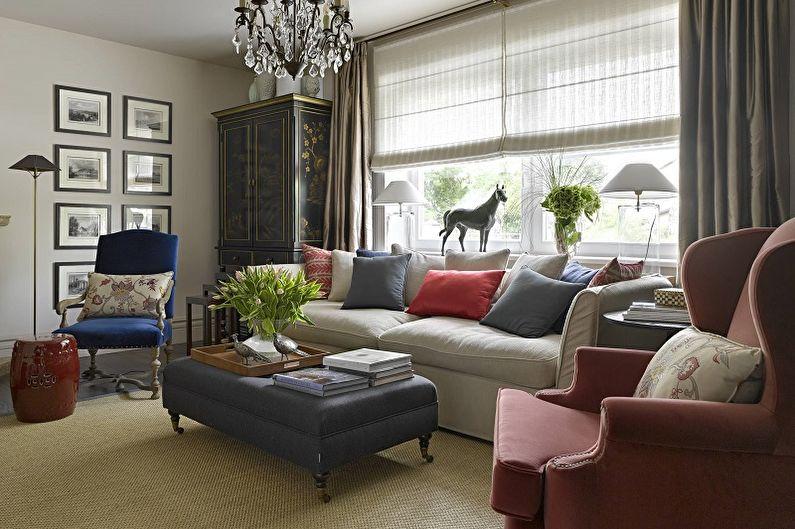 Khu giải trí với đồ nội thất bọc trong phòng khách của một ngôi nhà riêng