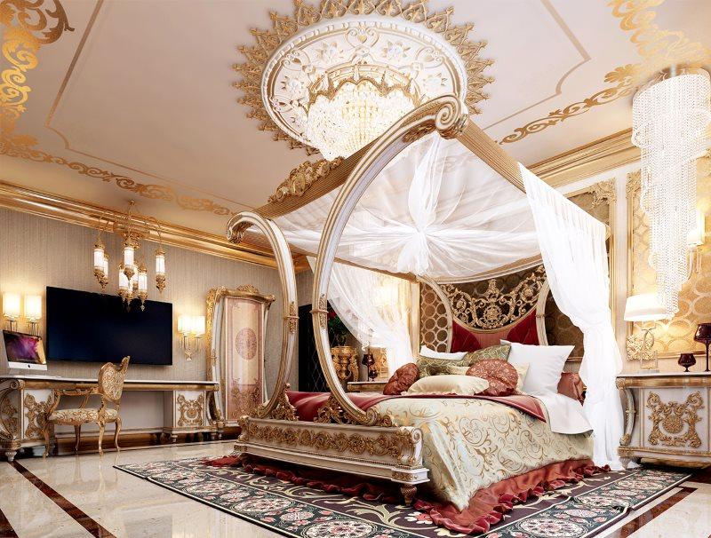auvent de style oriental sur le lit