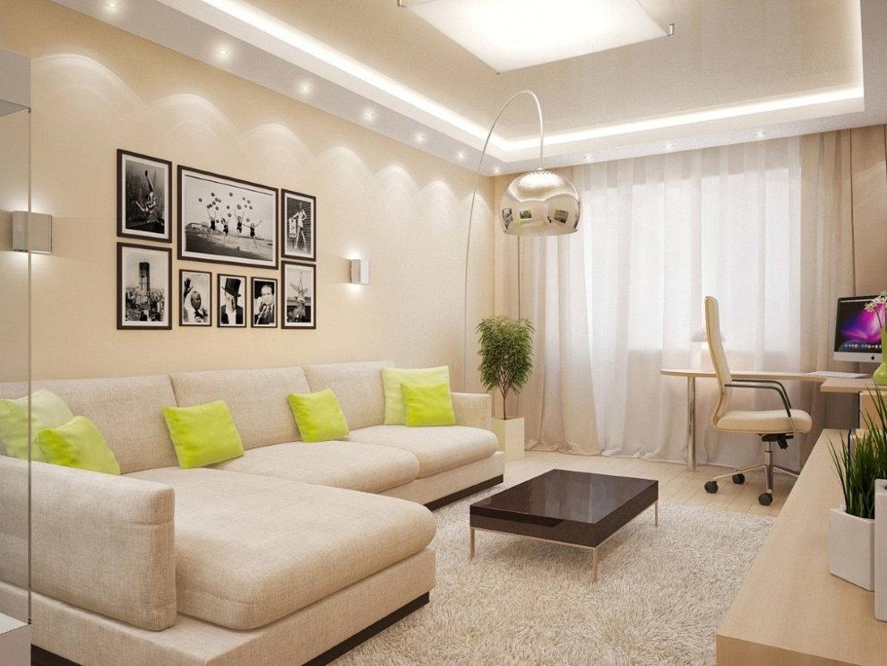Murs beiges du hall dans un appartement de deux pièces