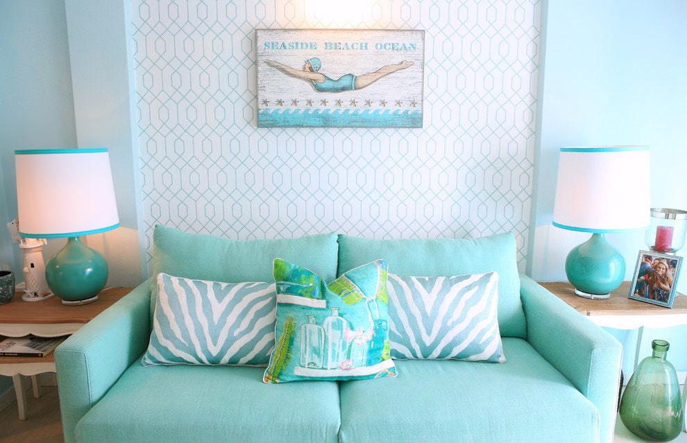 phòng khách màu xanh nhạt