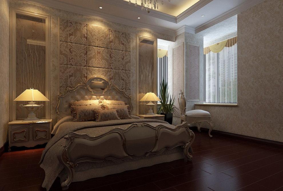 Éclairage nocturne à l'intérieur d'une chambre classique