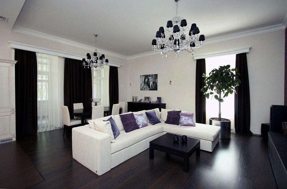 Rèm cửa màu đen trong phòng khách theo phong cách hiện đại.