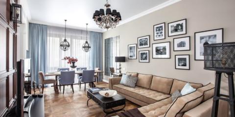 sofa góc cổ điển trong phòng khách