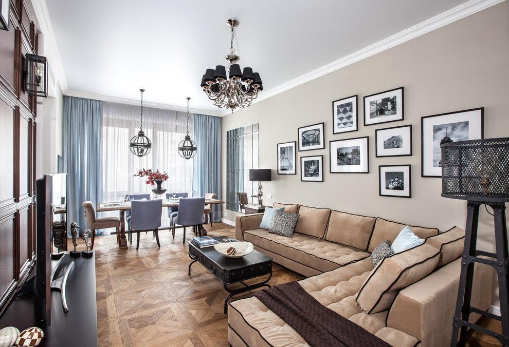 canapé d'angle classique dans le salon