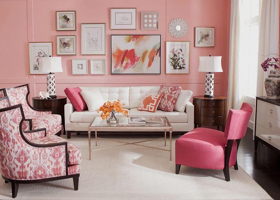 phòng khách màu hồng tươi sáng