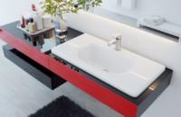 Mặt bàn bằng đá cẩm thạch đúc màu đỏ và đen