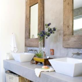 Phòng tắm mộc mạc