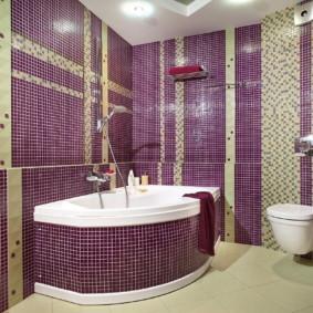 Carreau violet sur le mur de la salle de bain