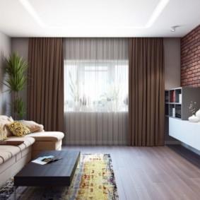 Intérieur du salon avec rideaux marron