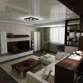 Plafond tendu dans le salon d'une maison privée
