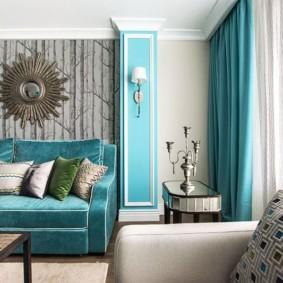 Canapé avec revêtement turquoise en tissu naturel