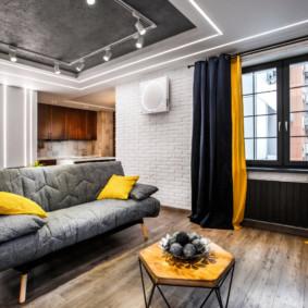 Điểm nhấn màu vàng trong nội thất của căn phòng