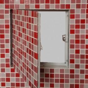 Carreaux de céramique fine sur la porte de la trappe