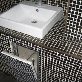 Trappe à charnière sous l'évier dans la salle de bain
