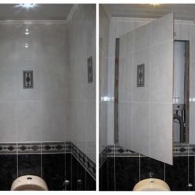 Trappe de révision derrière les toilettes