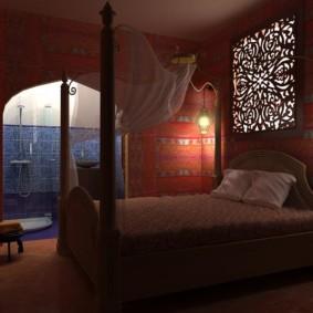 Conception d'éclairage dans une chambre de style arabe