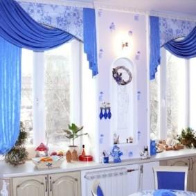 Textile bleu à l'intérieur de la cuisine