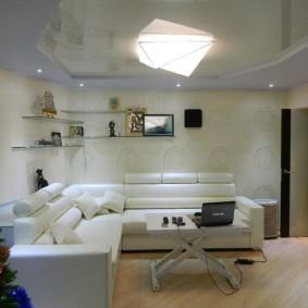 Canapé d'angle avec revêtement blanc