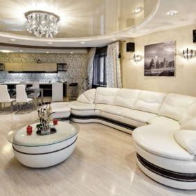 Cuisine-salon dans un style moderne