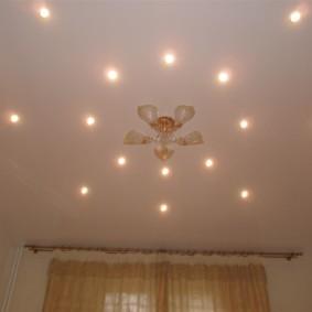Projecteurs autour du lustre au plafond