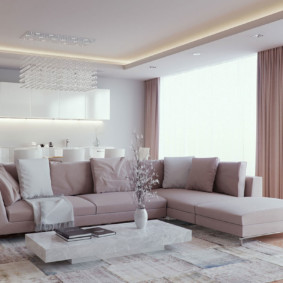 Chiếu sáng trần hai tầng trong phòng khách