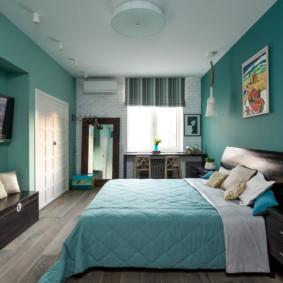 Couleur turquoise dans le design de la chambre