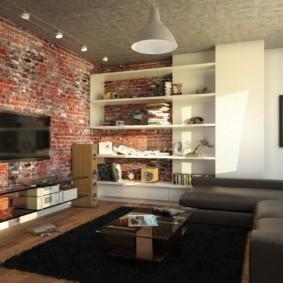 Mur de briques dans un salon de style loft