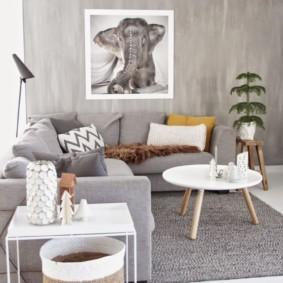 Canapé d'angle avec revêtement gris