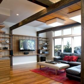Décor de salon spectaculaire avec bois naturel