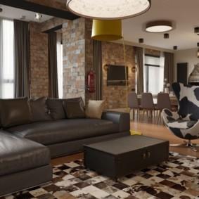 Canapé d'angle avec revêtement en cuir marron