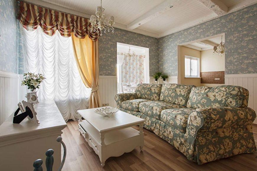 Rèm cửa kiểu Pháp trong phòng khách theo phong cách Provencal