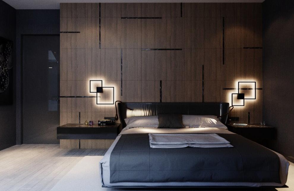 Lampes de nuit dans une chambre avec un grand lit