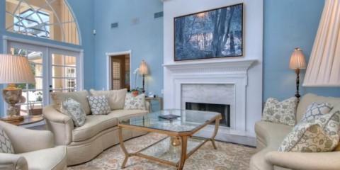 salon dans des meubles de tons bleus