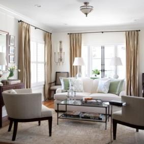 ý tưởng trang trí phòng khách màu sáng