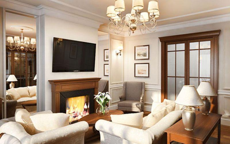 Salon de style anglais avec cheminée