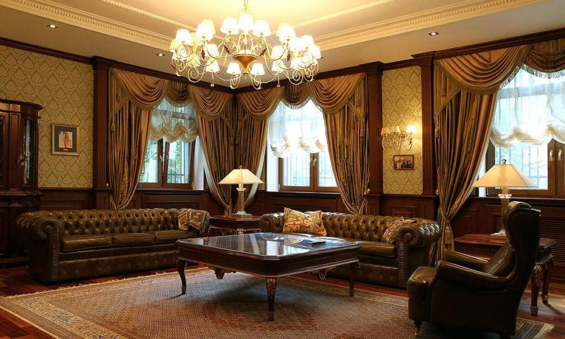 rideaux de salon de style anglais