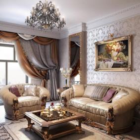 ý tưởng nội thất phòng khách phong cách cổ điển