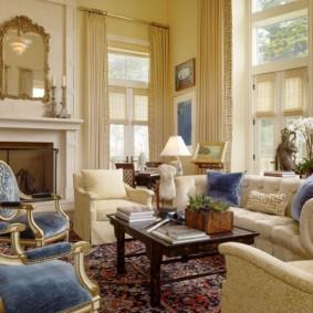 tùy chọn ảnh phòng khách theo phong cách cổ điển