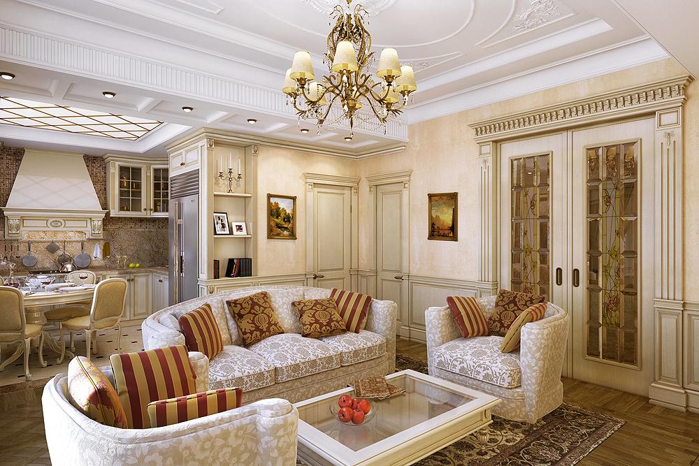 lựa chọn phòng khách theo phong cách cổ điển