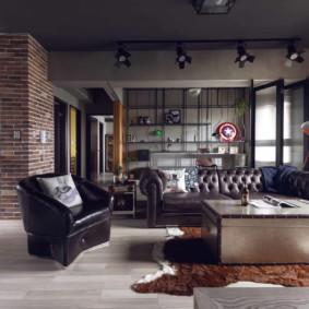 salon moderne dans l'aperçu des appartements
