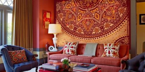 conception en couleur de la pièce dans un style oriental