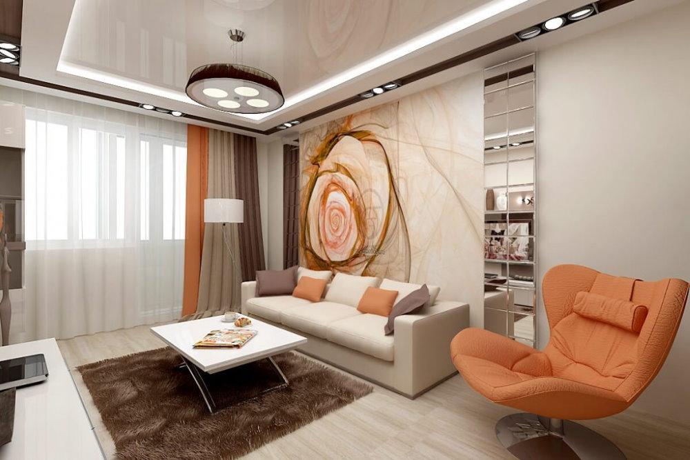 Fauteuil lumineux dans un salon de 25 mètres carrés