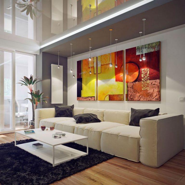 Peintures modulaires dans la salle de style moderne