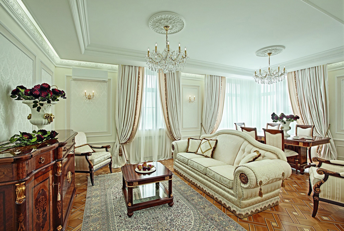 phong cách cổ điển trong phòng khách